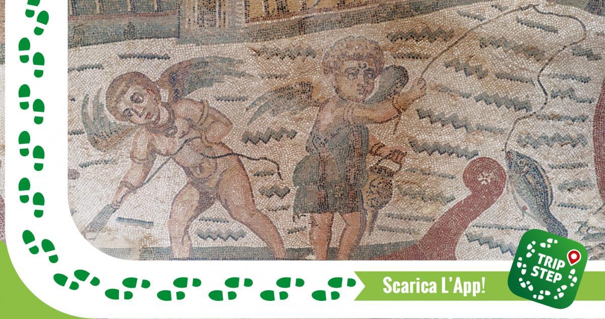 Piazza Armerina Villa del Casale mosaici della stanza dei cupidi che pescano foto di: ArishG via Wikimedia Commons