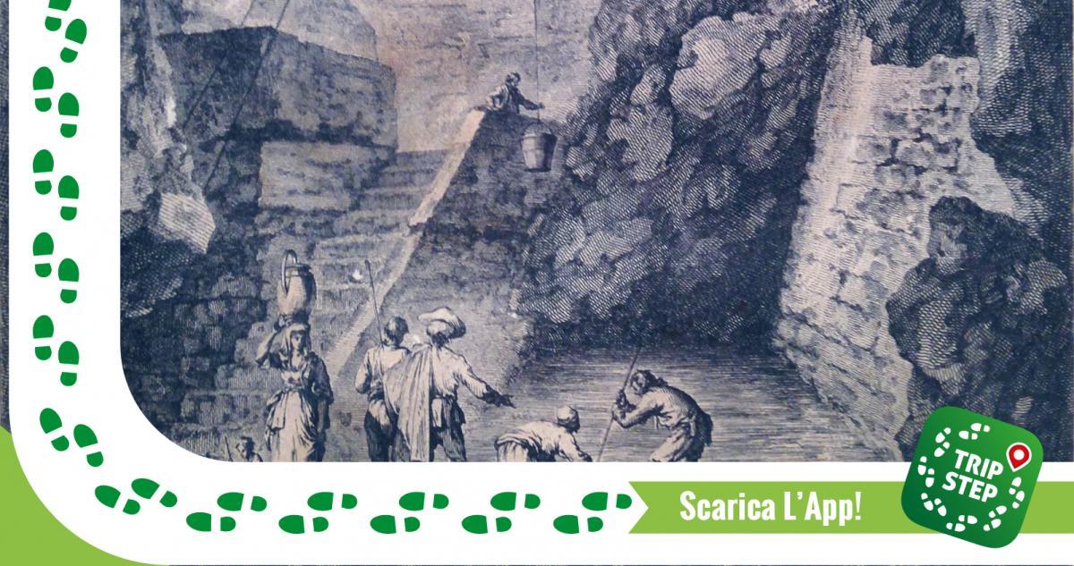Pozzo di Gammazita particolare di un incisione di Jean Louis Desprez