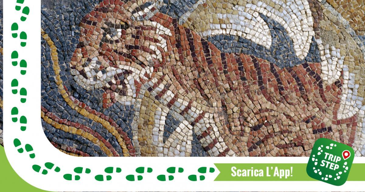 """Villa del Tellaro particolare del """"mosaico di Hector"""" foto di Giovanni via Wikimedia-Commons"""