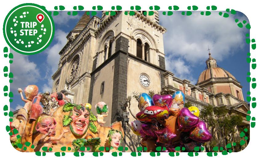 Acireale il Duomo durante il Carnevale foto di Leandro Neumann Ciuffo via Wikimedia Commons
