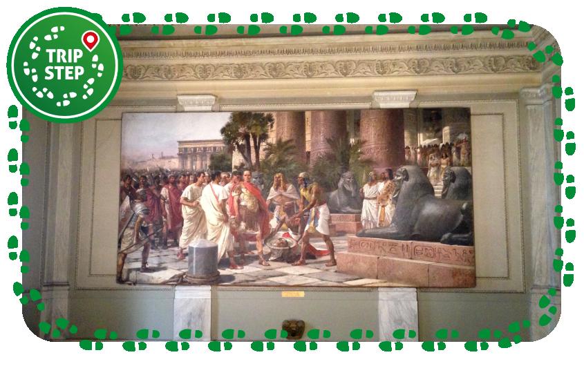 Palazzo degli Elefanti interno dipinto  raffigurante Giulio Cesare cui viene portata la testa di Pompeo foto di Davide Mauro via Wikimedia Commons