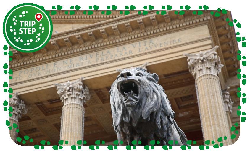 Palermo Teatro Massimo Vittorio Emanuele particolare di uno dei leoni