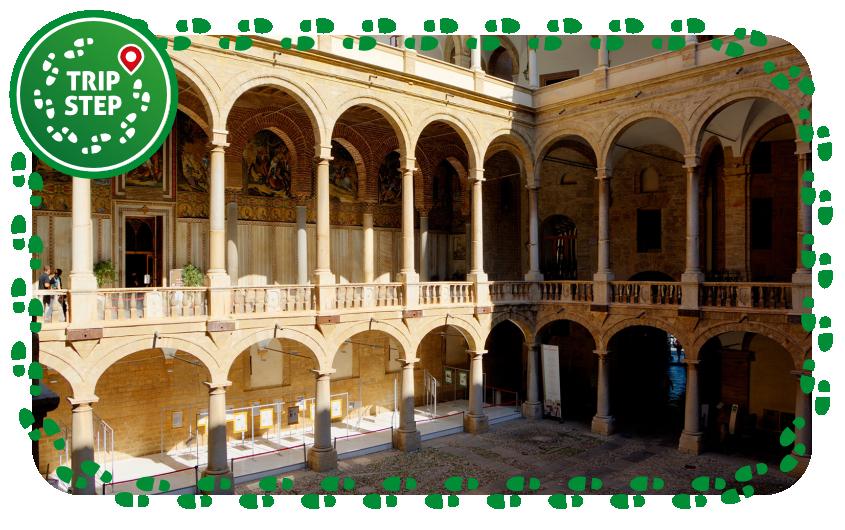 Palermo palazzo dei Normanni loggiato interno e ingresso cappella palatina foto di: Berthold Werner via Wikimedia Commons