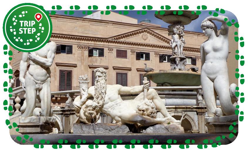 Palermo piazza Pretoria e fontana Pretoria particolare di uno dei gruppi scultorei foto di: Effems via Wikimedia Commons