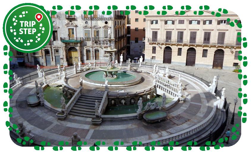 Palermo piazza Pretoria e fontana Pretoria foto di: Effems via Wikimedia Commons