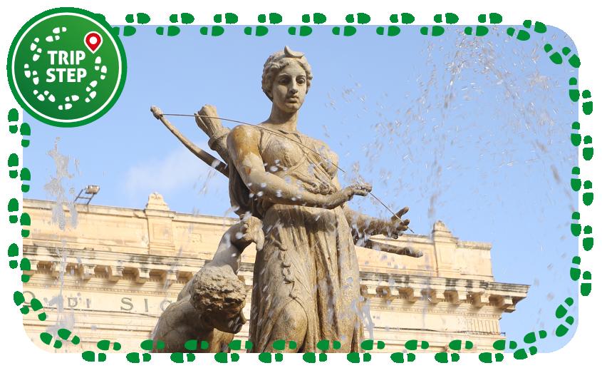 Siracusa fontana di Diana particolare della statua di Diana