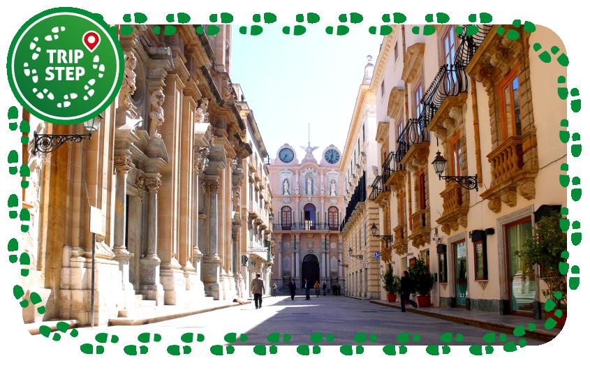 Trapani vista di Palazzo Cavarretta da Corso Vittorio Emanuele foto di: Martin Kroetz via Wikimedia Commons