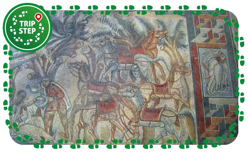 """Villa del Tellaro particolare del """"mosaico della caccia"""" foto di Sailko via Wikimedia-Commons"""
